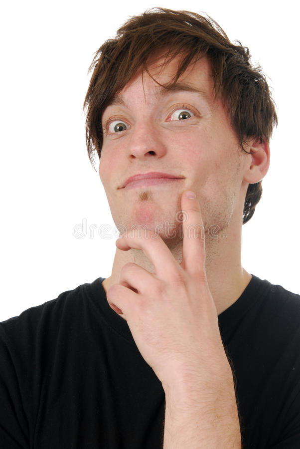 Wide Eyed Young Man Stock Photo