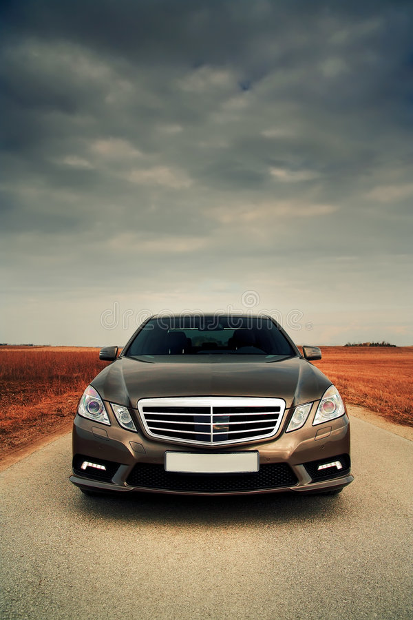 Wide front view of car. Wide front view of modern sporty saloon stock images