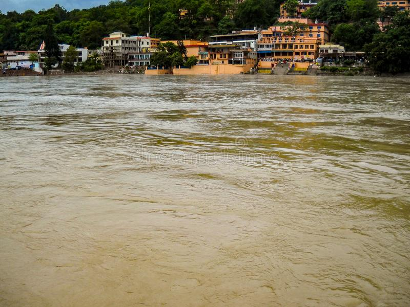 Wide Ganga river in Rishikesh India, Ganga river in India, Wide Ganga river, river in India. Wide Ganga river in Rishikesh India, Ganga river in India, Wide stock photography