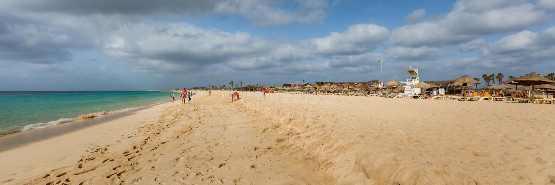 Wide golden beach, panorama stock image