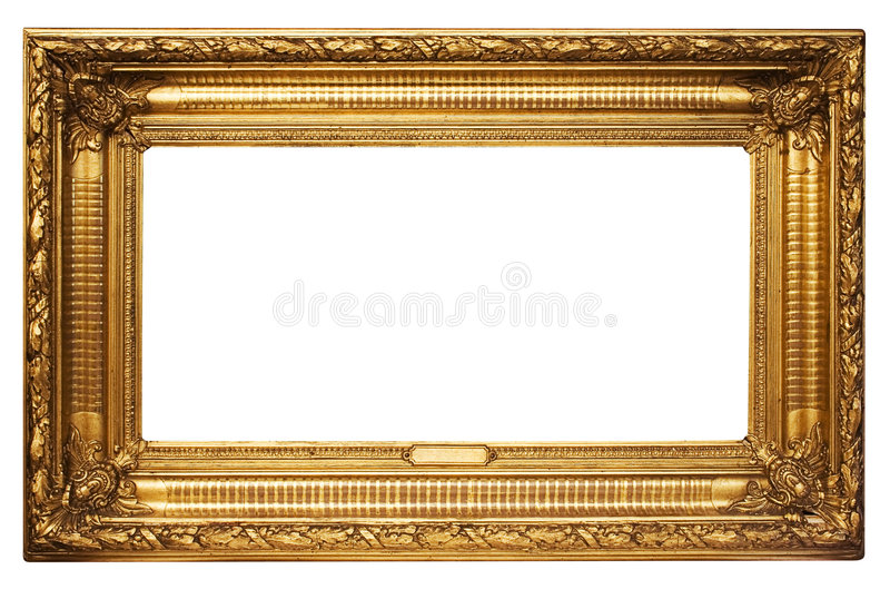 Download Wide Golden Picture Frame W/ Path Stock Image - Image: 446497