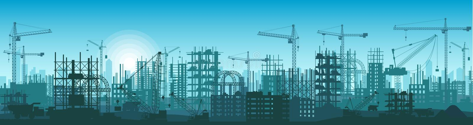 Wide High detailed banner illustration silhouette of buildings under construction in process. stock illustration