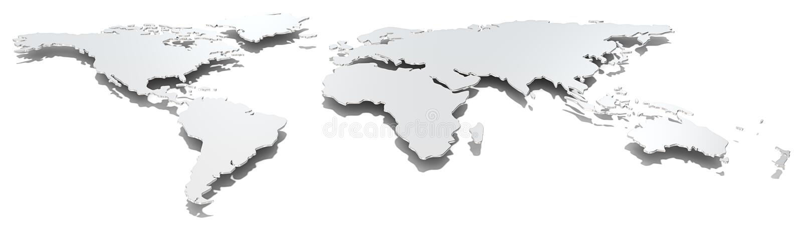 Wide image world map. Front view of thin steel world map. Hard shadow. Metal vector illustration