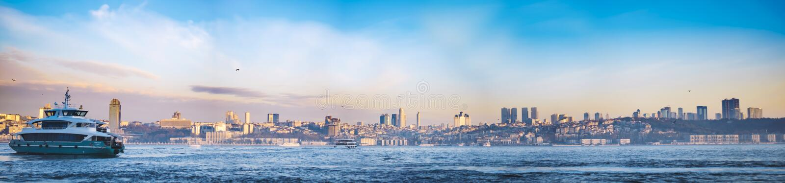 Wide istanbul panorama royalty free stock image