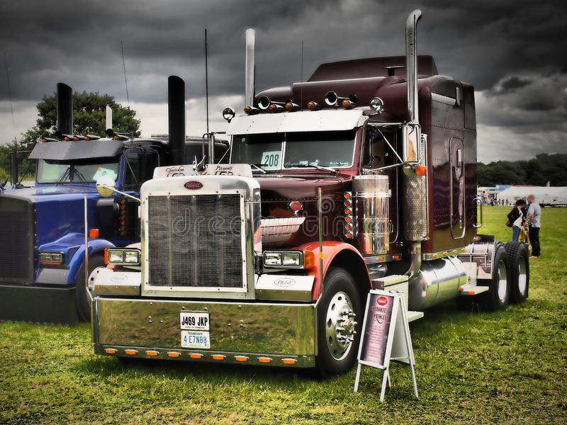 American long track at truck exhibition. Wide and long American roads would never have their charms if they were not driven by large trucks with a proper cut royalty free stock images