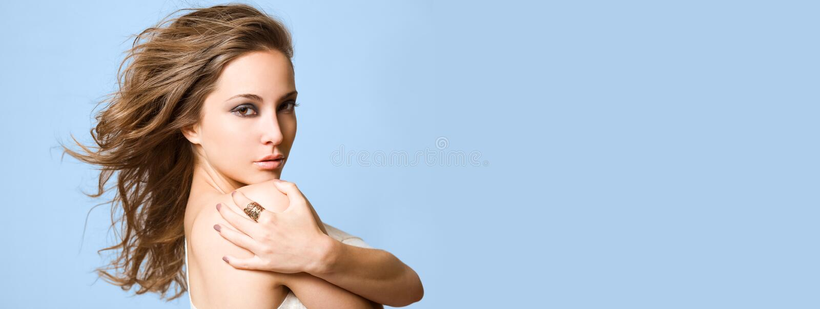 Wide long banner with gorgeous brunette. stock photography