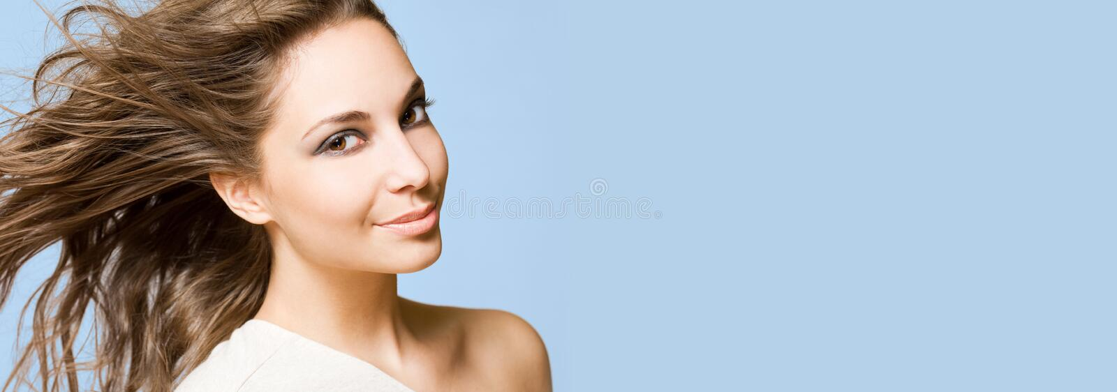 Wide long banner with gorgeous brunette. stock images