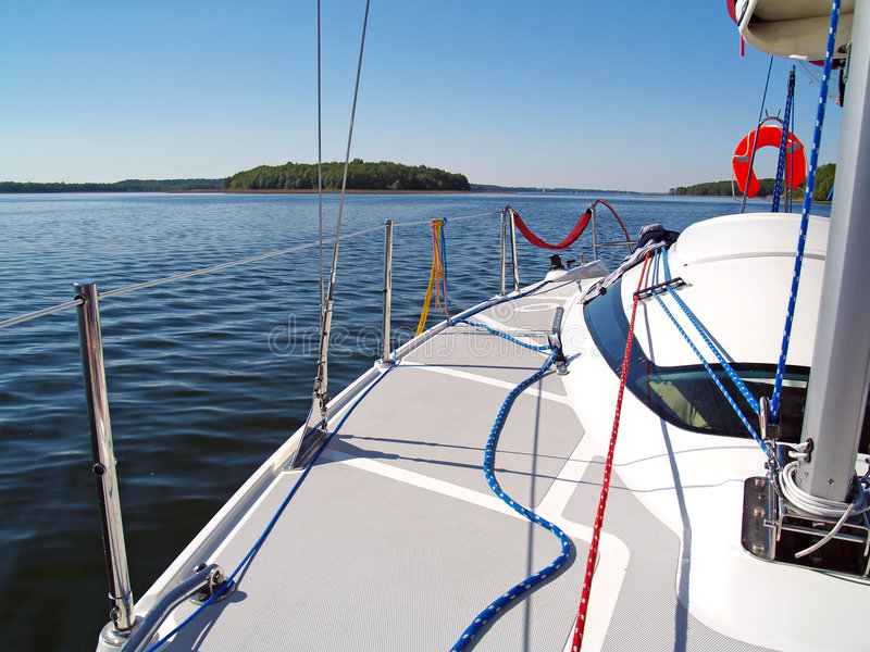 Wide look sailing deck stock images