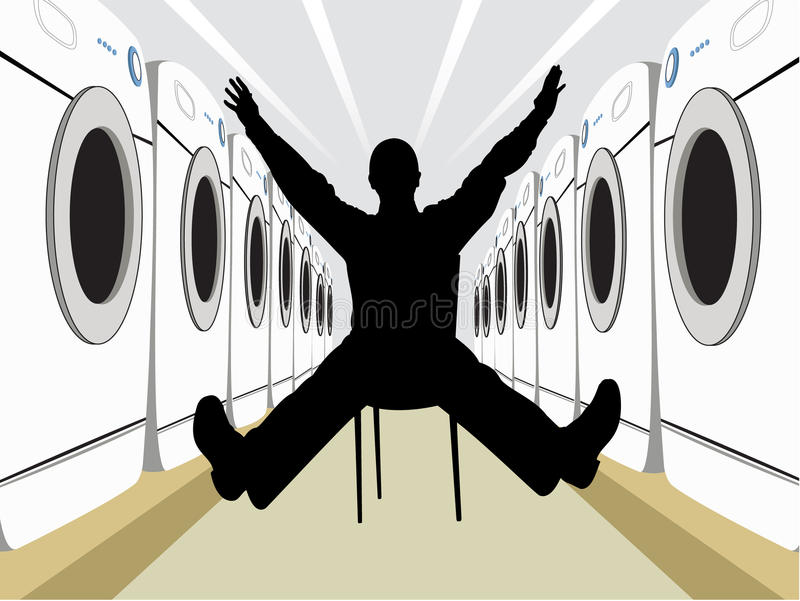 Wide Man On Chair Silhouette With Washers Vector Stock Photography