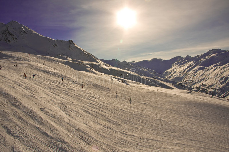 Wide mountain-skiing lines. stock image