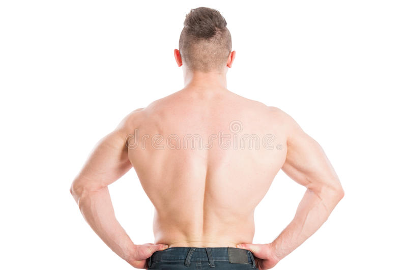 Wide muscular back male royalty free stock images