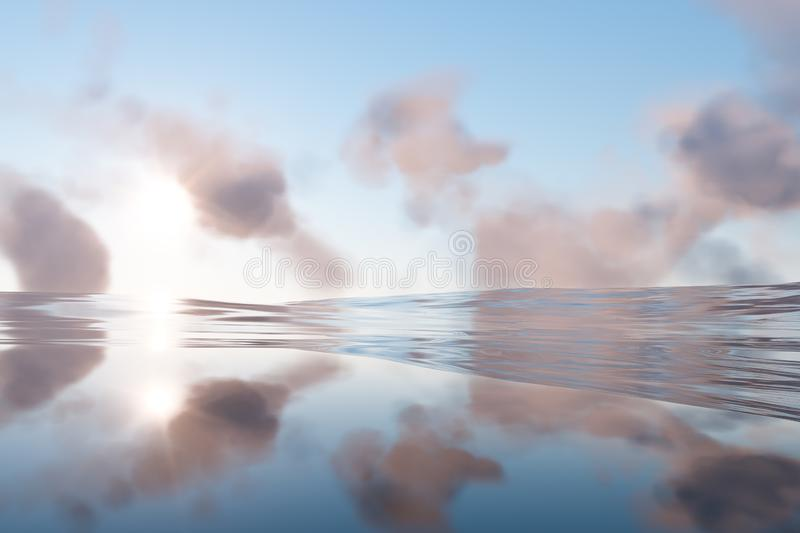 The wide ocean with sunshine going through the clouds, 3d rendering. Computer digital drawing, fresh, wavy, waves, gradient, silence, peace, seascape, clean royalty free illustration