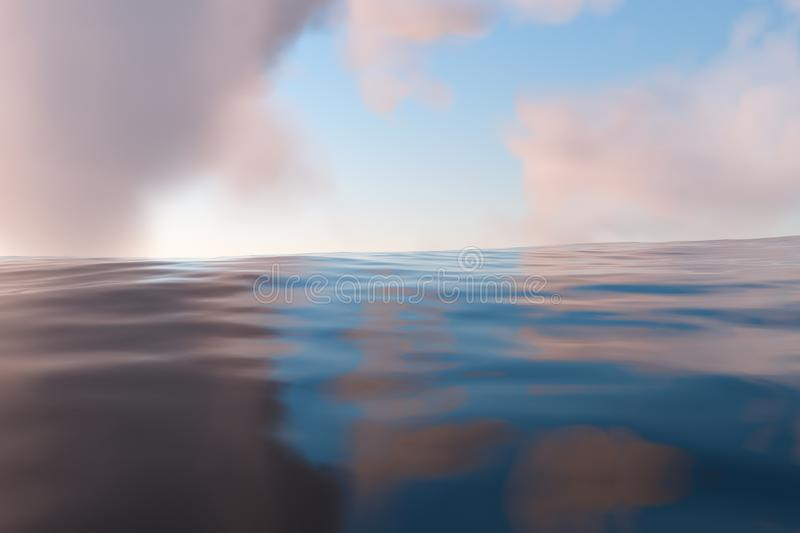The wide ocean with sunshine going through the clouds, 3d rendering. Computer digital drawing, fresh, wavy, waves, gradient, silence, peace, seascape, clean stock illustration