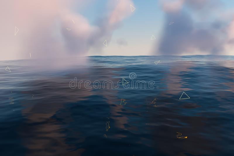 The wide ocean with sunshine going through the clouds, 3d rendering. Computer digital drawing, fresh, wavy, waves, gradient, silence, peace, seascape, clean vector illustration