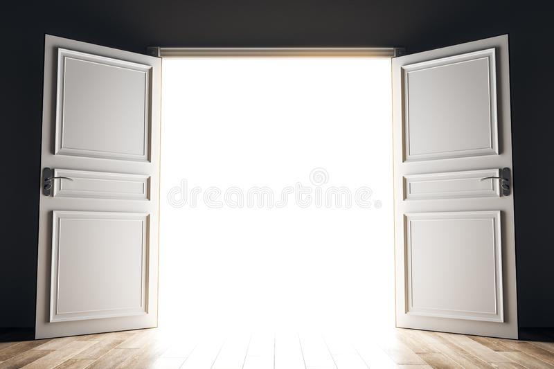 Success and future concept. Wide open bright opportunity door. Success and future concept. 3D Rendering royalty free illustration