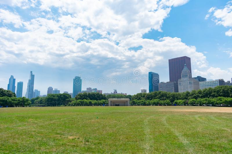 Wide Open Field with a Stage and Skyscrapers in Grant Park Chicago royalty free stock photos