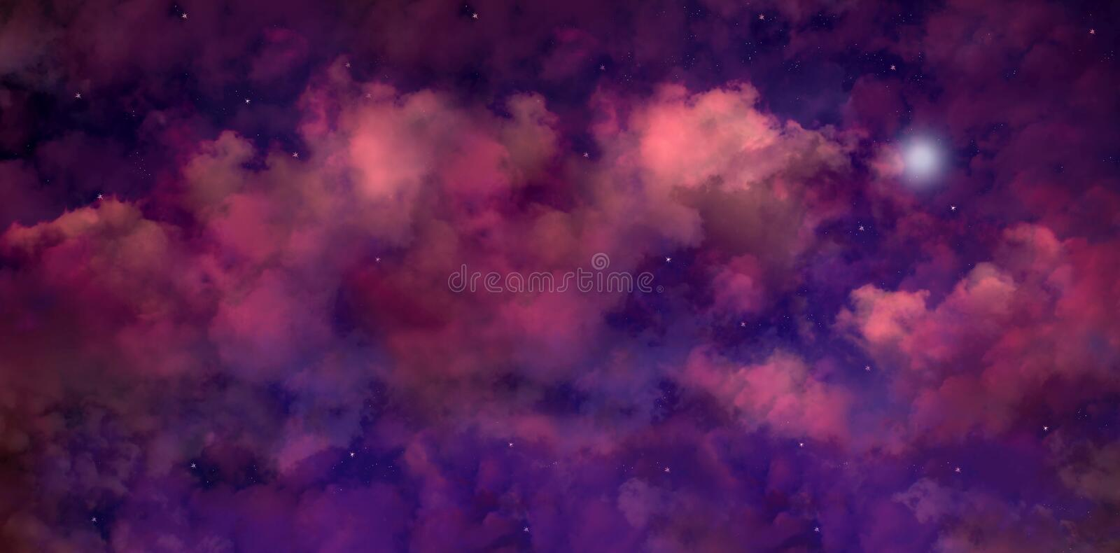 Wide panel of outer space with many stars, cloud formations stock photography