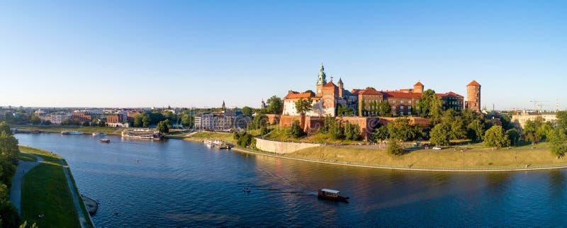 Wide Panorama of Krakow, Poland, Wawel castle and Vistula river royalty free stock image
