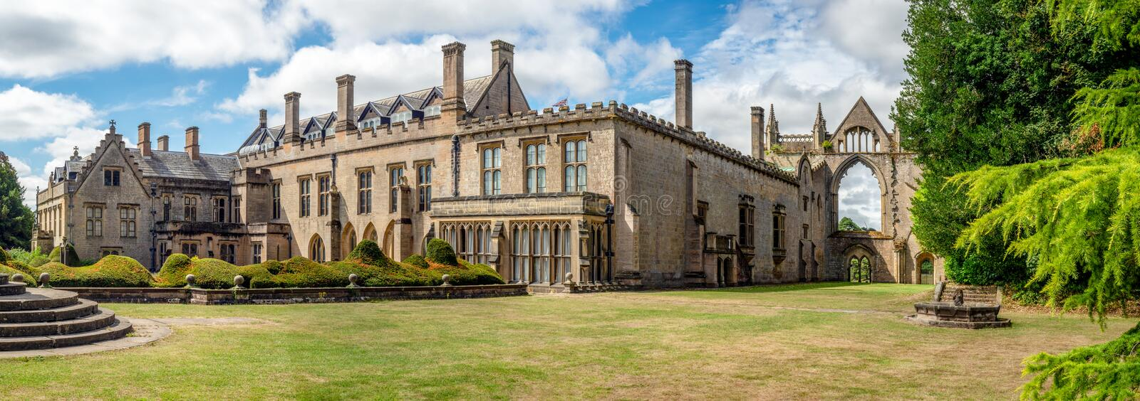 Newstead Abbey near Nottingham, England. Wide panorama of Newstead Abbey in Nottinghamshire, England, UK. Also a late home of famous English romantic poet, Lord stock image