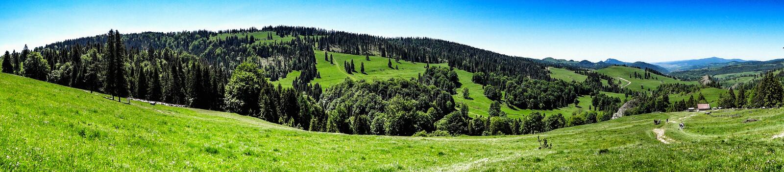 Wide panorama of Pieniny range in southern Poland. Landscape of Pieniny and Gorce mountain range in beskids in Poland. Pieniny Mountains in the south of Poland royalty free stock photo