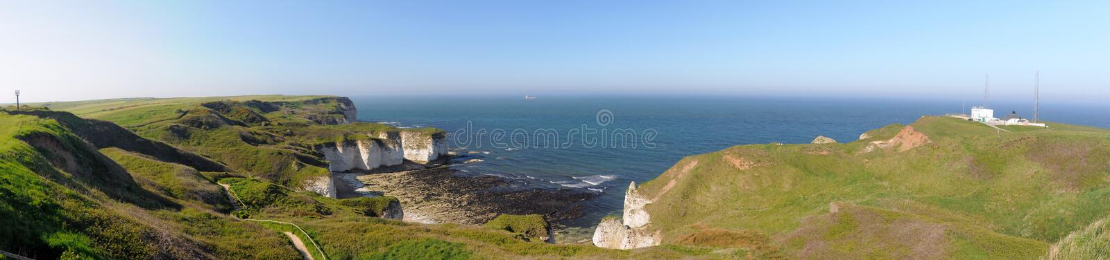 Download Wide Panorama Of Sea And Cliffs In Flamborough, UK Stock Photo - Image: 25172672
