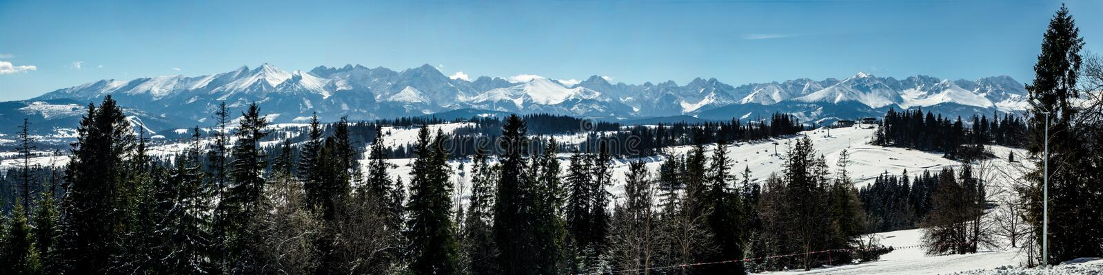 Wide panorama of Tatra Mountains stock image
