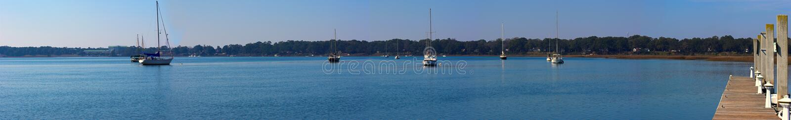 Download Wide Panorama Of Water And Sailboats Royalty Free Stock Photography - Image: 28382647