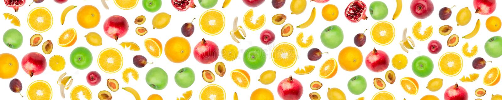 Wide panoramic collage fresh fruit isolated on white background vector illustration