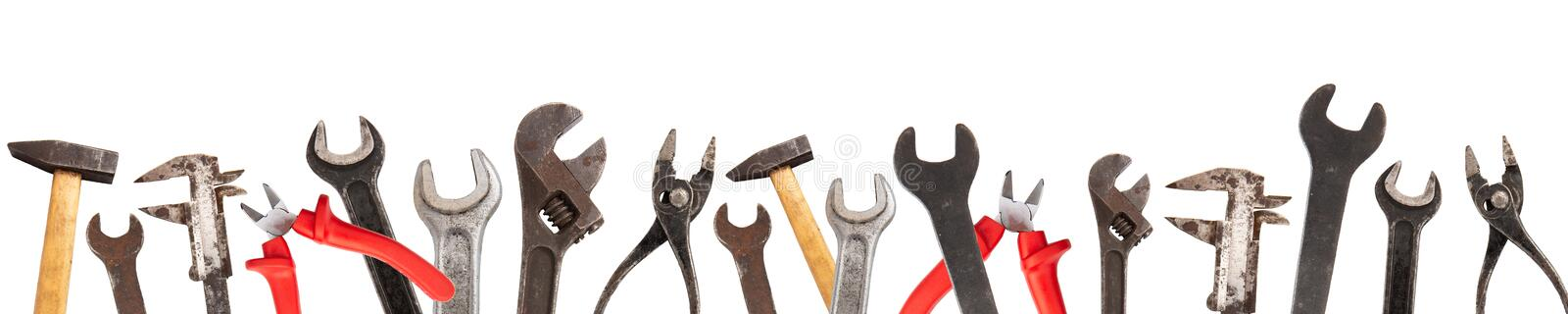 Wide collage of old craftsman tools isolated on white background stock illustration
