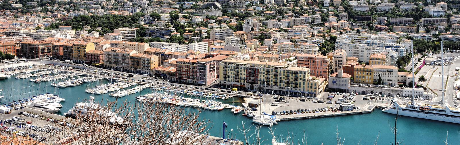 Wide panoramic image of Port Lympia in Nice resort city, France. Wide panoramic image of Port Lympia in Nice resort french popular tourist destination city stock photography