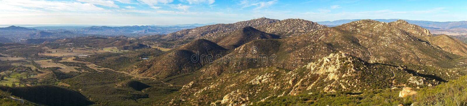 Wide Panoramic Landscape View of San Diego County from Iron Mountain. Wide Panoramic Landscape of San Diego County North Inland and distant Southern California royalty free stock photography