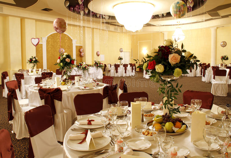 Wide party or banquet ballroom interior royalty free stock photography