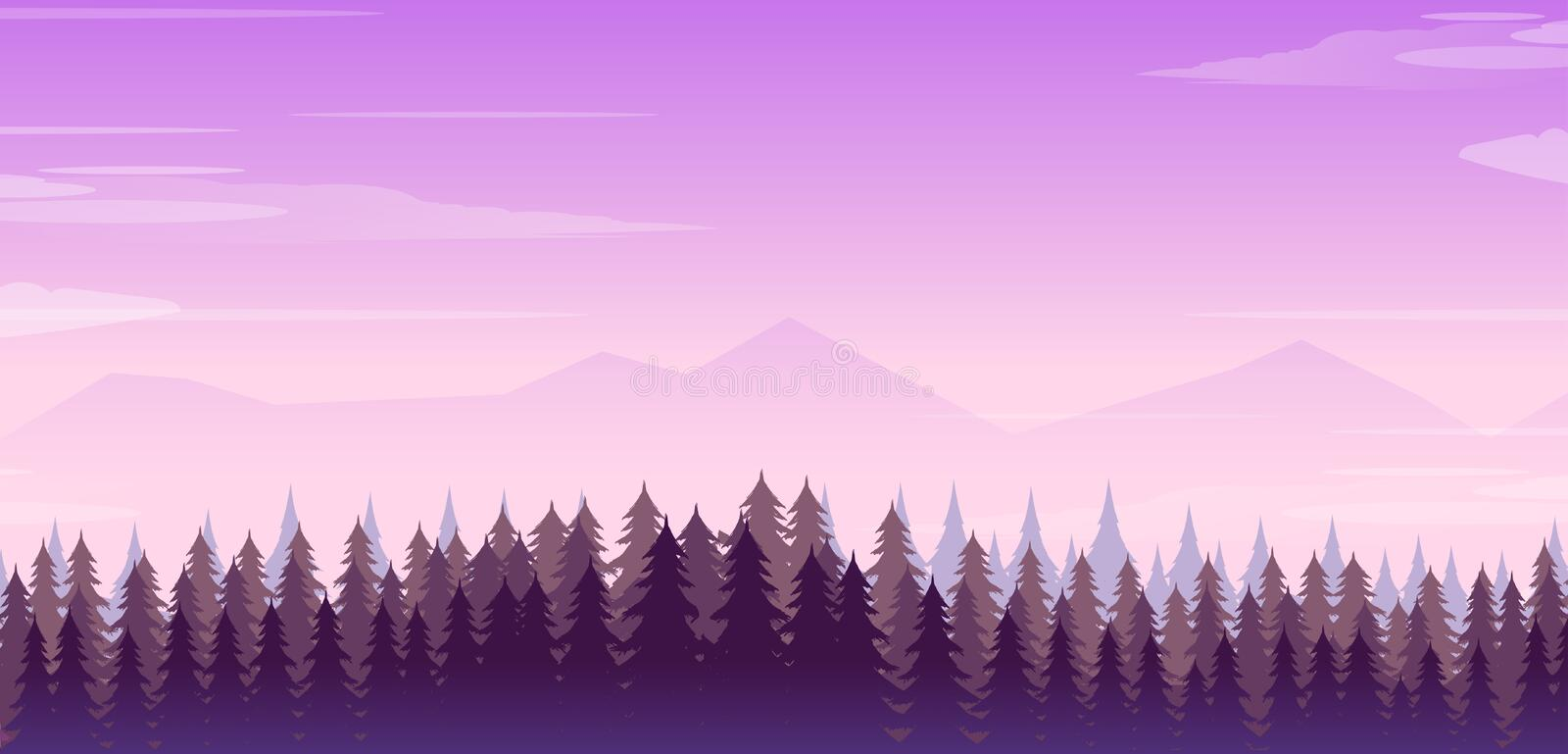 Wide realistic illustration of mountain landscape with forest and trees. Purple night sky vector illustration