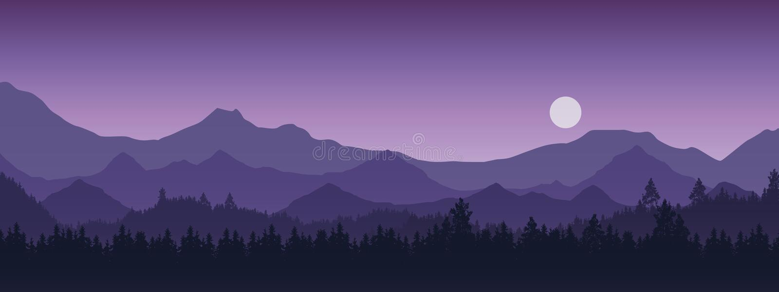 Wide realistic illustration of mountain landscape with forest and trees. Purple night sky with moon or sun, vector stock illustration