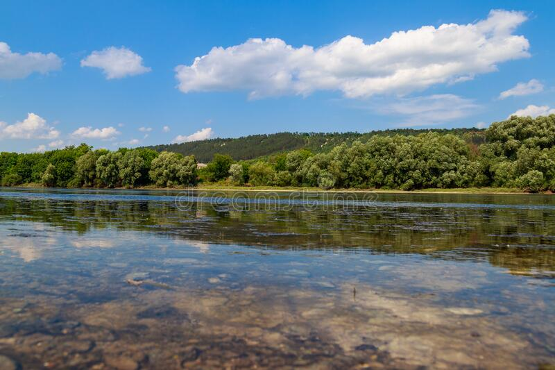 Wide River. Eastern European Background With Copy Space
