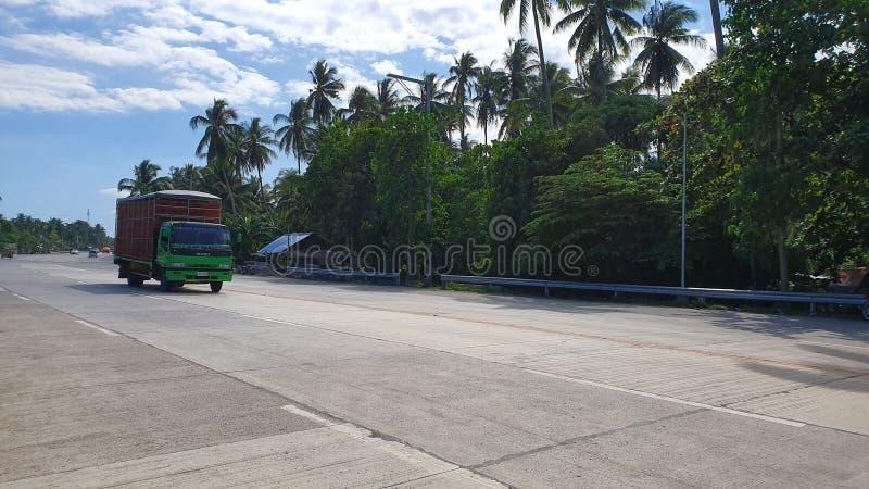 Wide Road a Digos City, Davao del Sur, Filippine fotografia stock libera da diritti