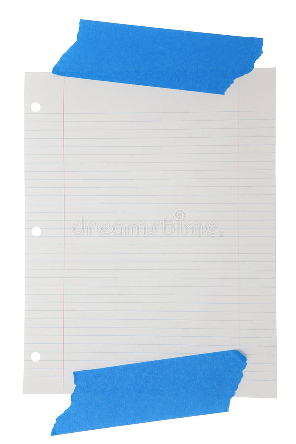 Download Wide Rule Lined Paper Taped Stock Photo - Image: 7774900