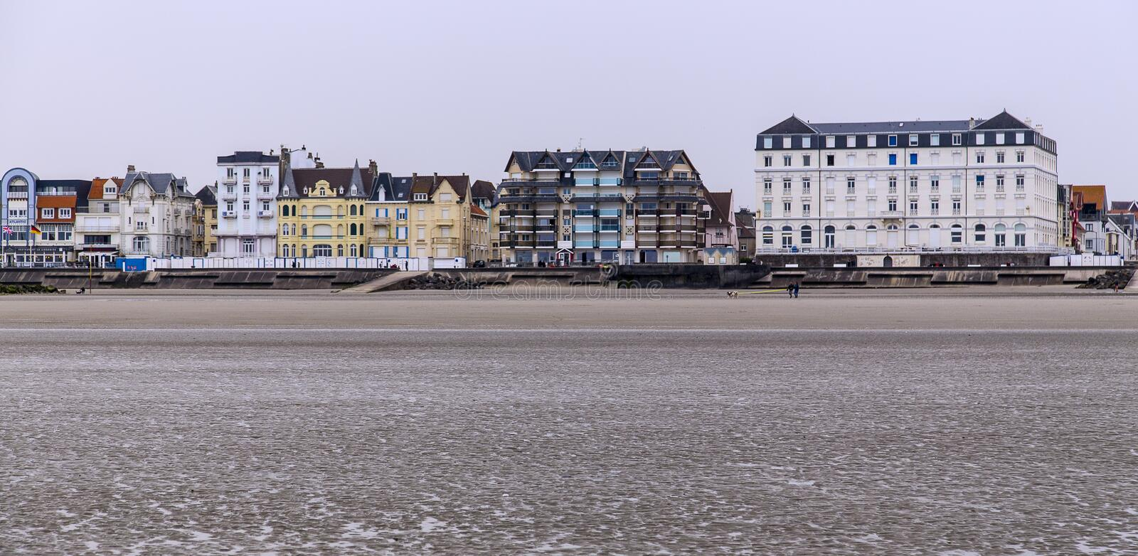 Beach at low tide at cote d`opale on the north french coast royalty free stock image