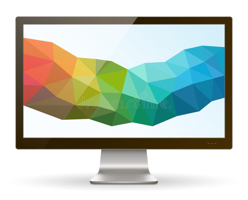 Wide Screen Computer Monitor III. A realistic LCD / LED monitor with abstract background. Saved in EPS 10 file with transparencies and 1 object with drop shadow stock illustration