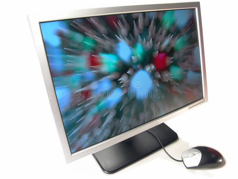 Wide Screen LCD Computer Monitor and Mouse. (Isolated on white background royalty free stock photo