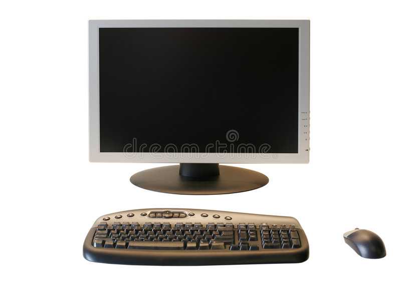 Wide Screen LCD Monitor With Wireless Keyboard And Mouse Stock Images