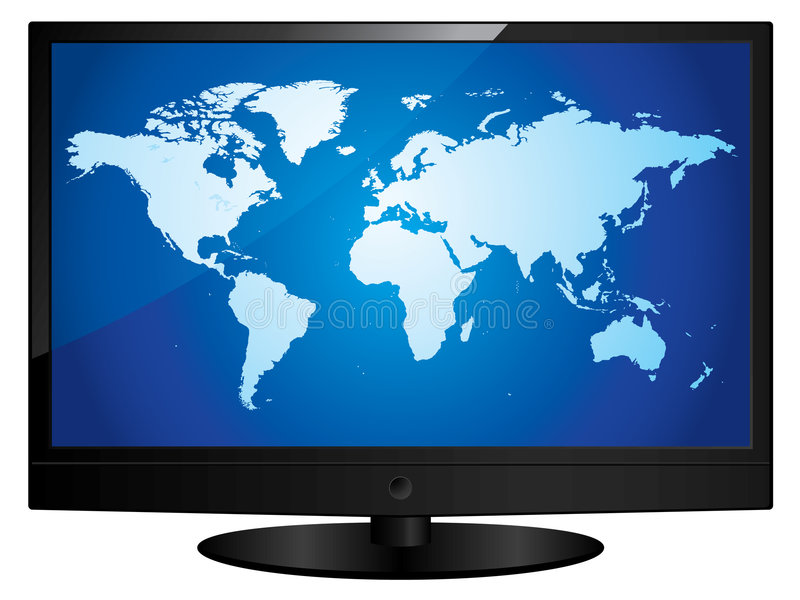 Download Wide Screen Television With World Map Stock Vector - Image: 7730382