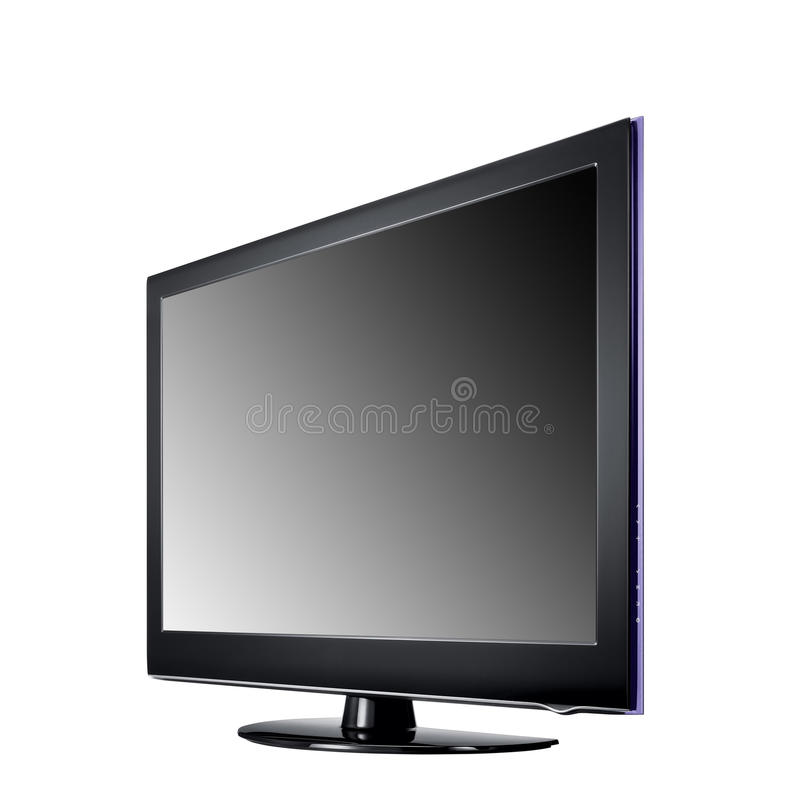 Wide screen tv display. Isolated on white stock image