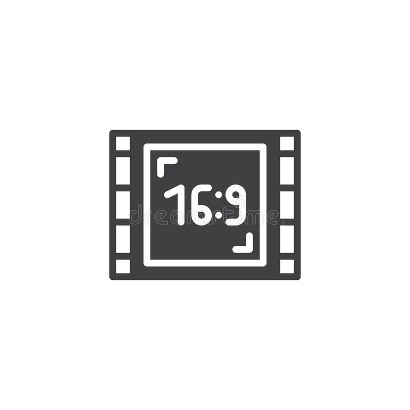 Wide screen 16-9 vector icon. Filled flat sign for mobile concept and web design. Aspect ratio 16:9 widescreen tv simple solid icon. Symbol, logo illustration vector illustration