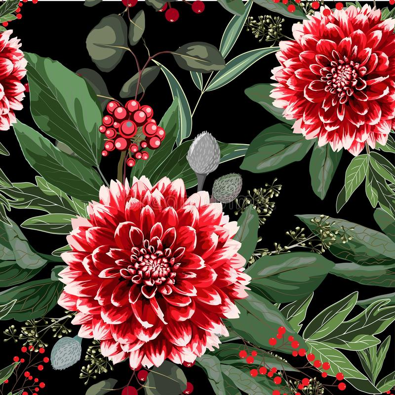 Wide seamless floral background pattern. Red dahlia flowers with christmas berries, branches with leaves on black background. Hand drawn stock illustration