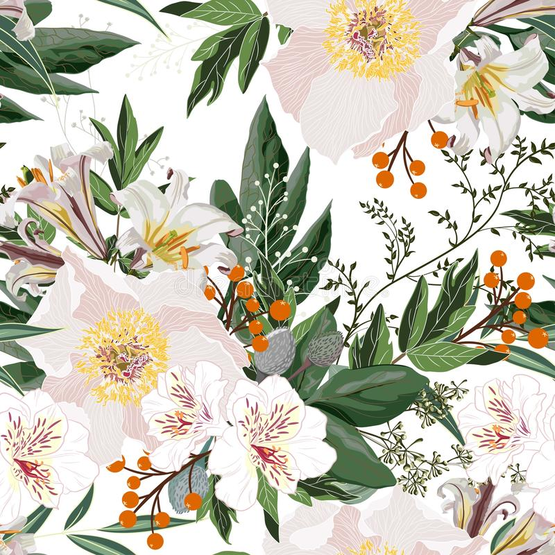 Wide seamless floral background pattern. White peony flowers with orange christmas berries, branches with leaves on black backgrou stock illustration