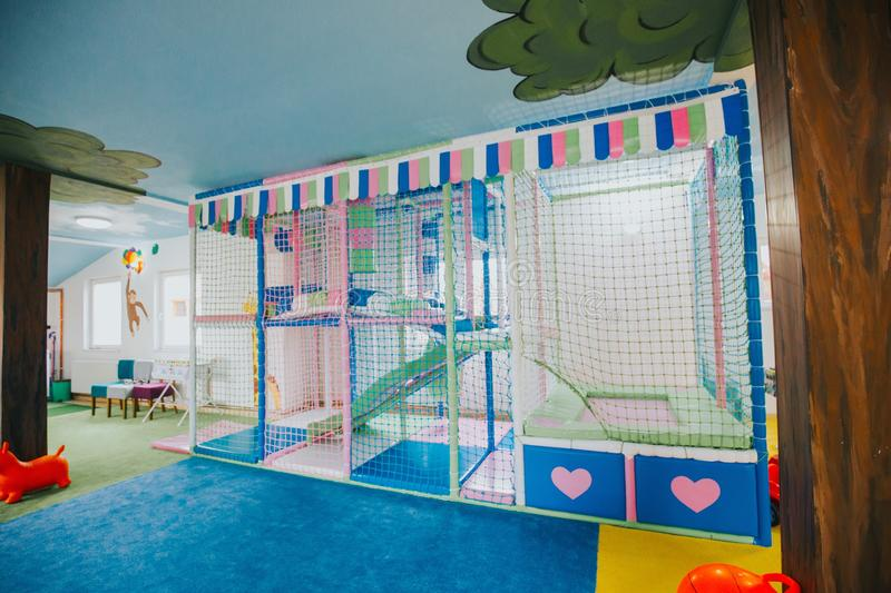 Wide shot of a colorful daycare center playground. A wide shot of a colorful daycare center playground royalty free stock photos