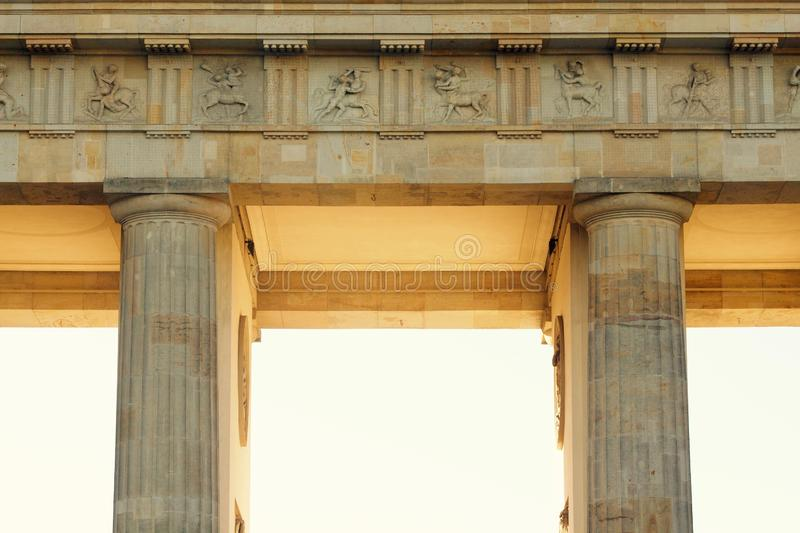 Wide shot of columns of Brandenburg Gate. A wide shot of columns of Brandenburg Gate royalty free stock photo
