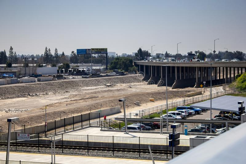 Flood control concrete channel. A wide shot of an empty, dry flood channel in Anaheim, California royalty free stock images