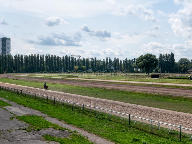 Wide shot of hippodrome at summer sunny day with lonely horse running royalty free stock images